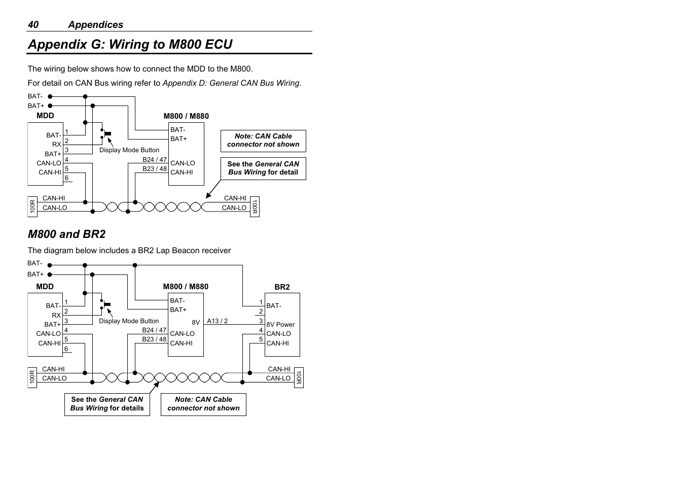 Appendix G Wiring To M800 Ecu And Br2 40 Appendices Motec M880 Diagram Mdd User Manual Page 42 48