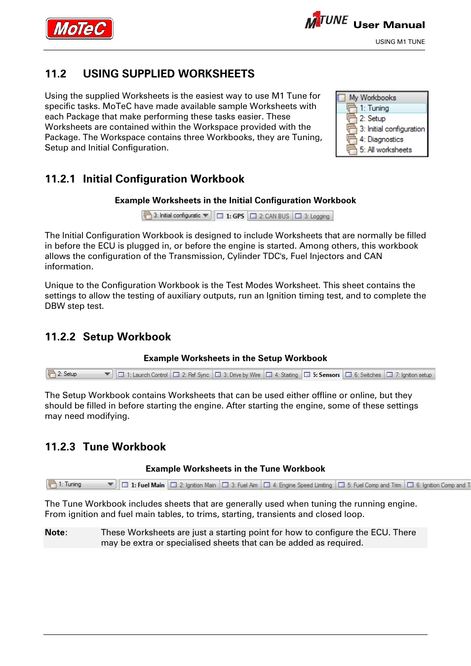 worksheet M1 Worksheets 2 using supplied worksheets 1 initial configuration workbook setup 3 tune