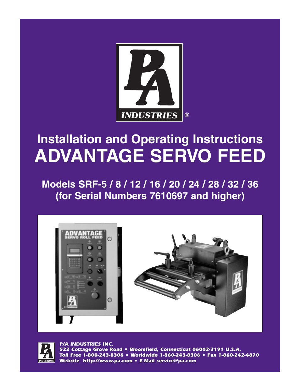 pa industries advantage servo roll feed srf 8  12  16  20