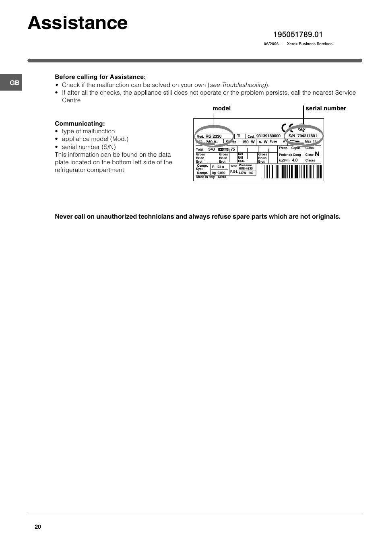 Assistance, Model serial number | Indesit TAAN 2 X User