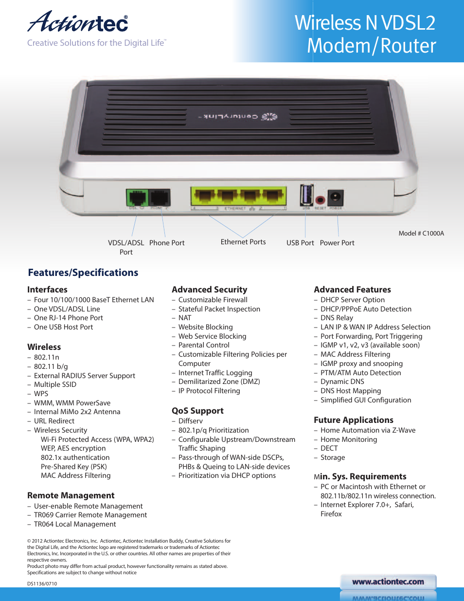 wireless n vdsl2 modem router features specifications actiontec rh manualsdir com centurylink user manual CenturyLink Contact Us