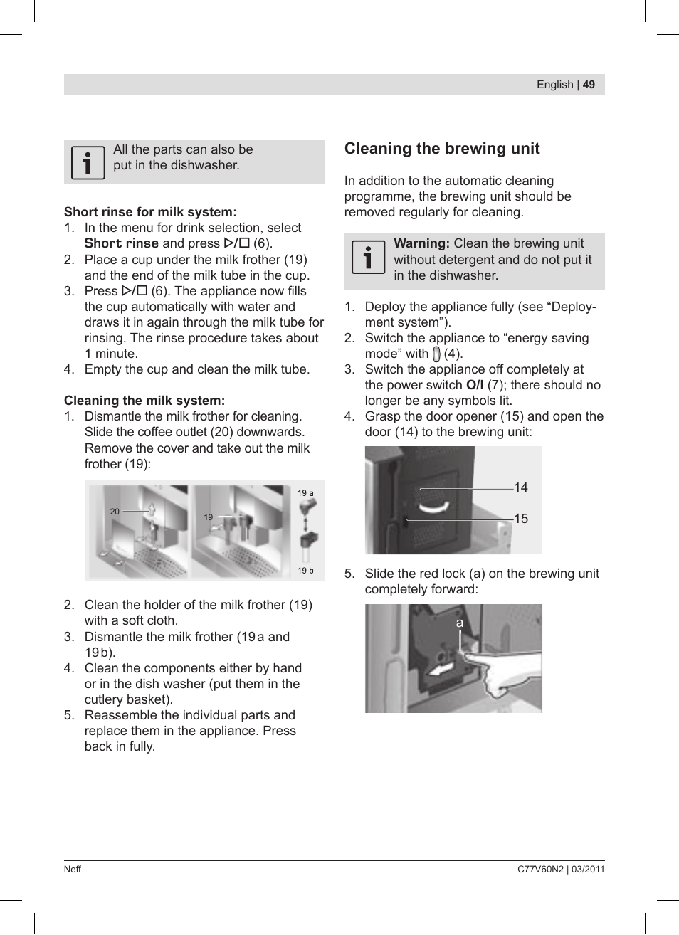 Cleaning The Brewing Unit Neff C77v60n2 User Manual Page