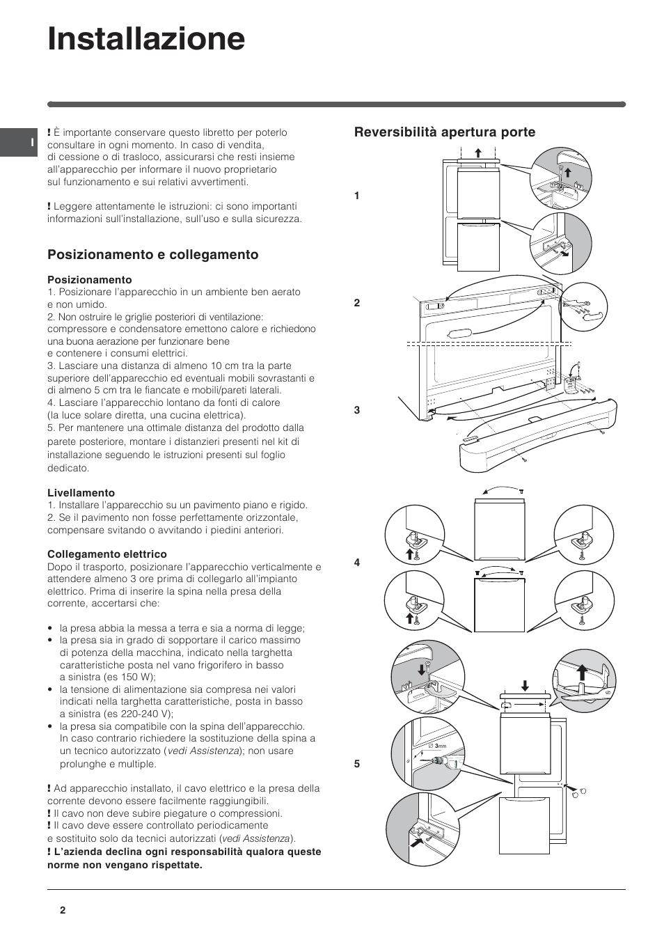 Installazione, Reversibilità apertura porte, Posizionamento e ...