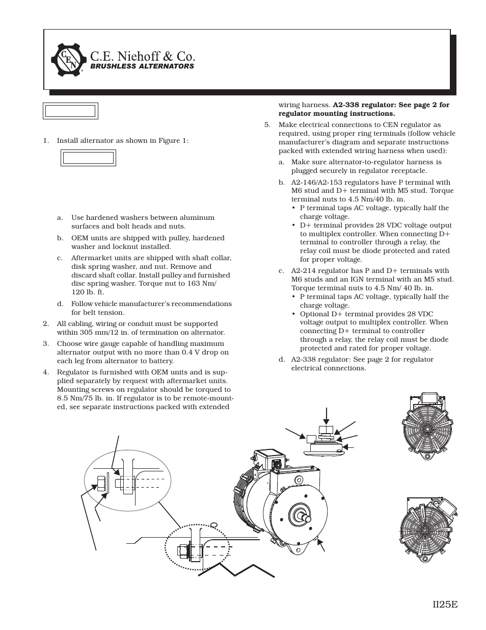C E  Niehoff  U0026 Co  C653  C653a Alternator Installation User