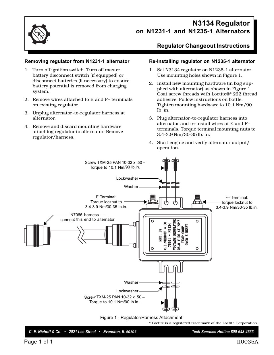 Ce Niehoff Co N3134 Regulator Changeout Instructions User Thread Correct Alternator Wiring Manual 1 Page