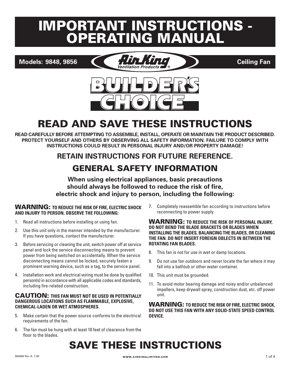Air King 9848 User Manual | 4 pages | Also for: 9856