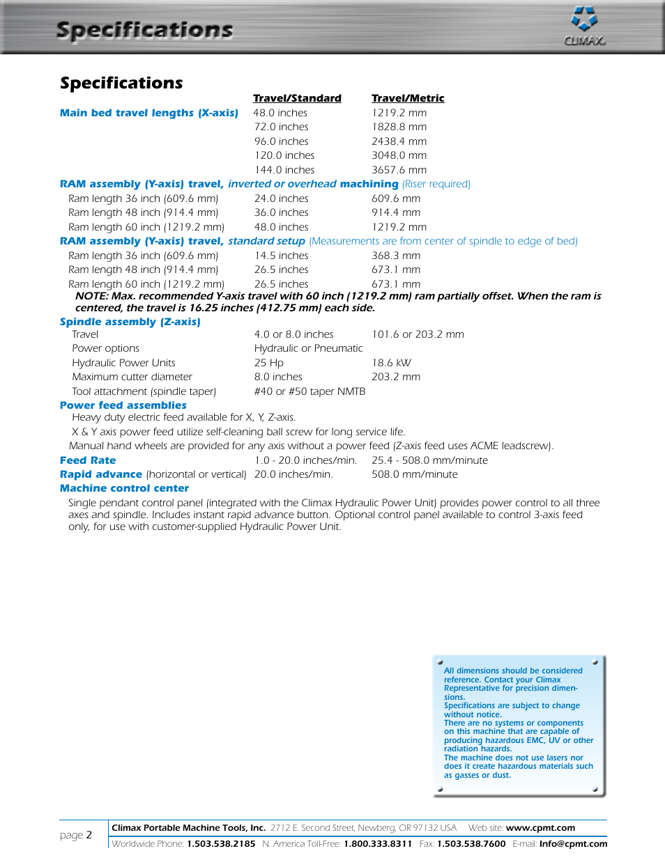 Specifications   Climax LM6000 OBS LINEAR/GANTRY MILL User Manual   Page 2  / 10