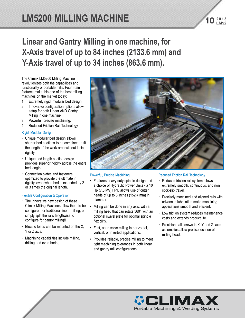 Climax LM5200 LINEAR/GANTRY MILL User Manual | 12 pages