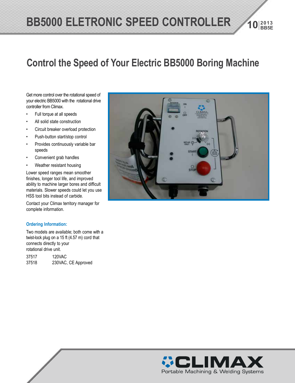 Climax Bb5000 Electronic Speed Controller User Manual 2 Pages Circuit