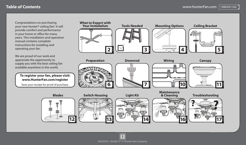 Hunter 59006 52 Adirondack User Manual 17 Pages