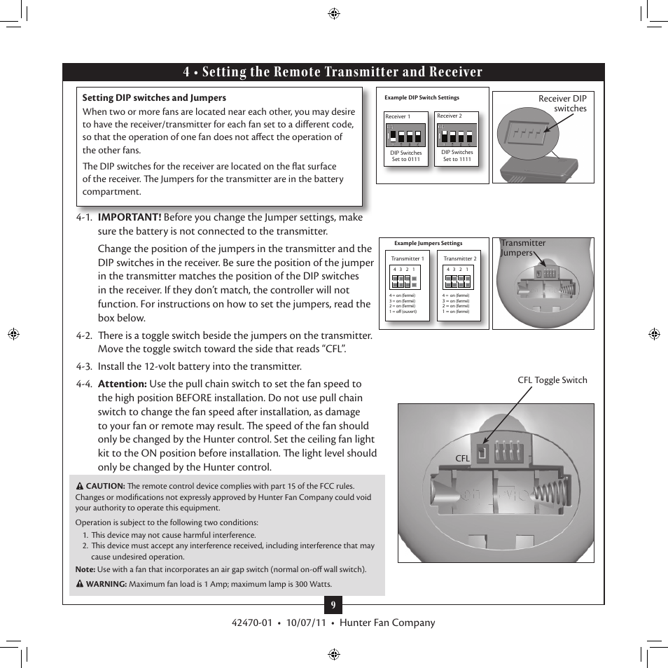 4 Setting The Remote Transmitter And Receiver Hunter 28752 52 Conlee User Manual Page 9 18