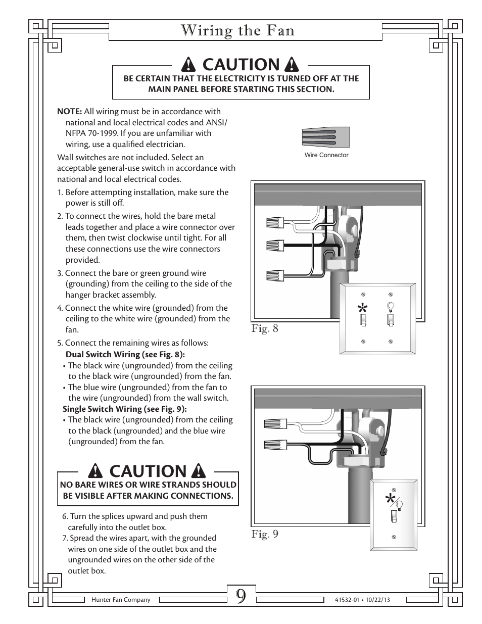 Caution Wiring The Fan Hunter 23855 52 Classic Original User A Ceiling Wall Switch Manual Page 9 15