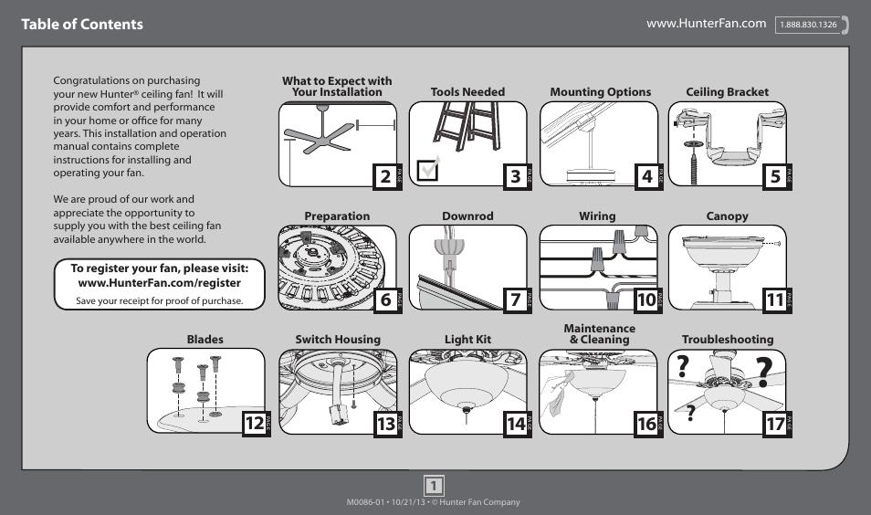 Hunter 53278 52 Mainstone User Manual