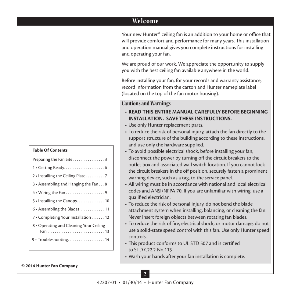 Welcome, Cautions and warnings | Hunter 28803 52 Orchard Park User Manual |  Page 2 / 14