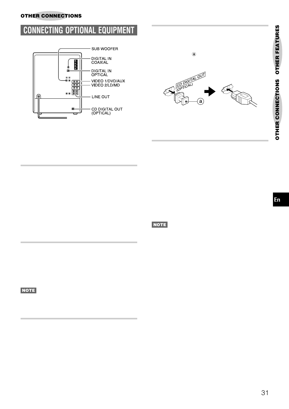 Connecting optional equipment, Cd digital out (optical) jack, Digital in  jacks | Aiwa NSX-DS8 User Manual | Page 31 / 101