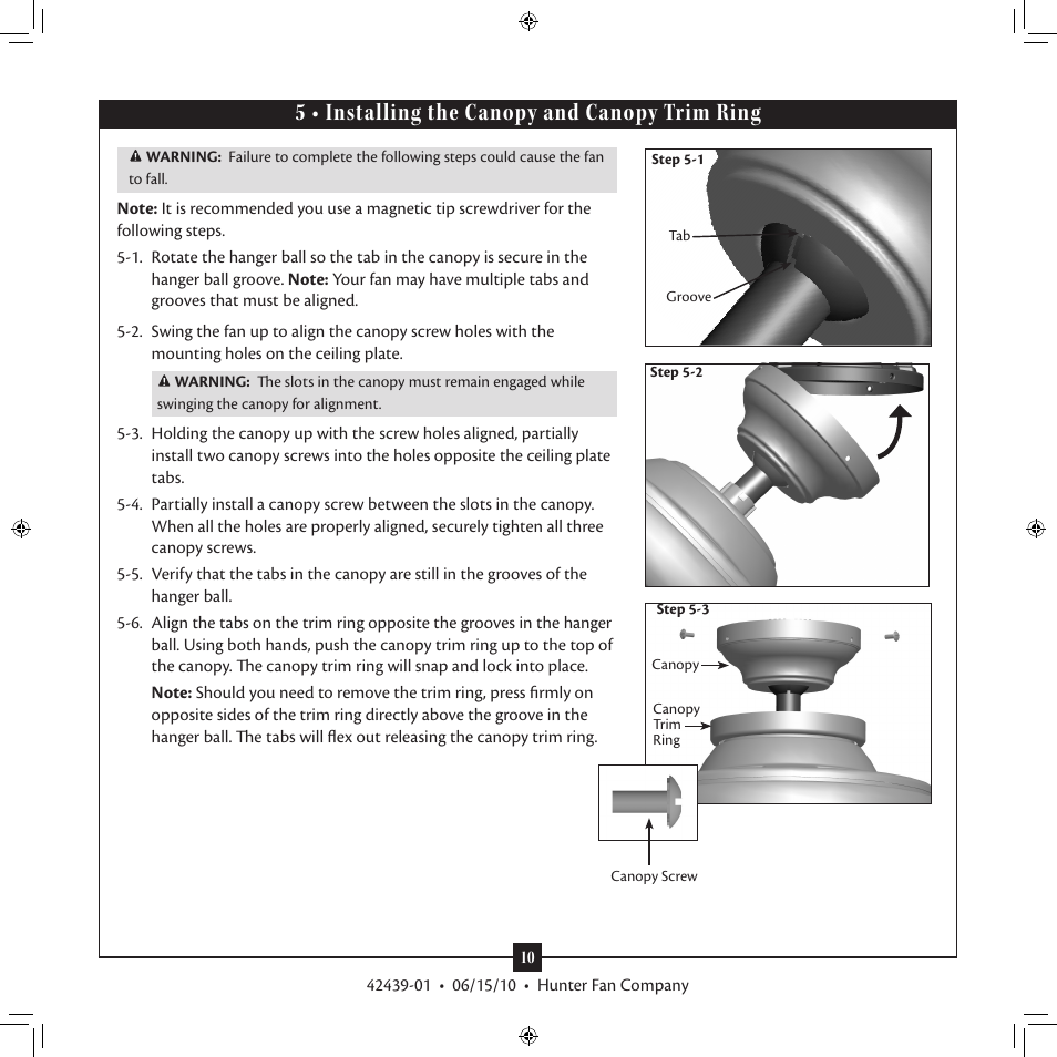 5 Installing The Canopy And Trim Ring Hunter 28680 52 Waldon Five Minute Fan User Manual Page 10 15