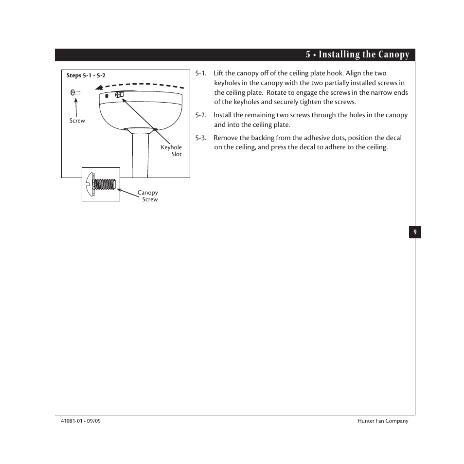 Diagram Baseball Fan Hunter Wire Data Schema Ceiling Wiring On How To Install Installing 5 U2022 The Canopy 23252 44 User Manual Rh Manualsdir Com Receiver Replacement Light And Connection