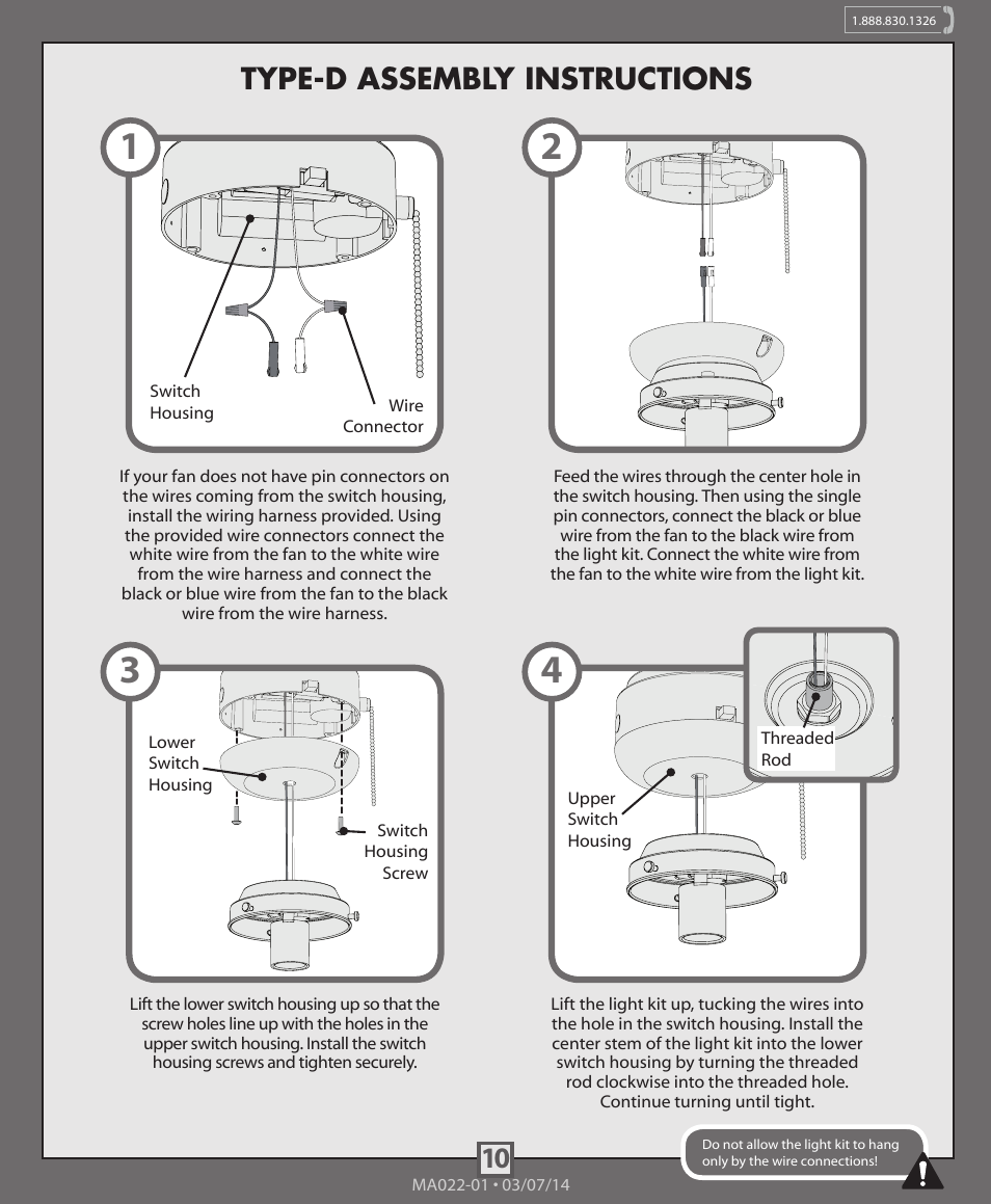 10 type-d assembly instructions | Hunter 99164, 99165, 99166 ...