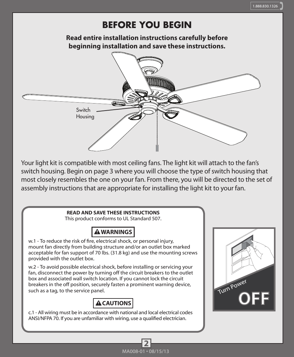 Before You Begin Hunter 99093 99094 4 Light Fitter With Glass Wiring A Ceiling Fan And To One Switch User Manual Page 2 10