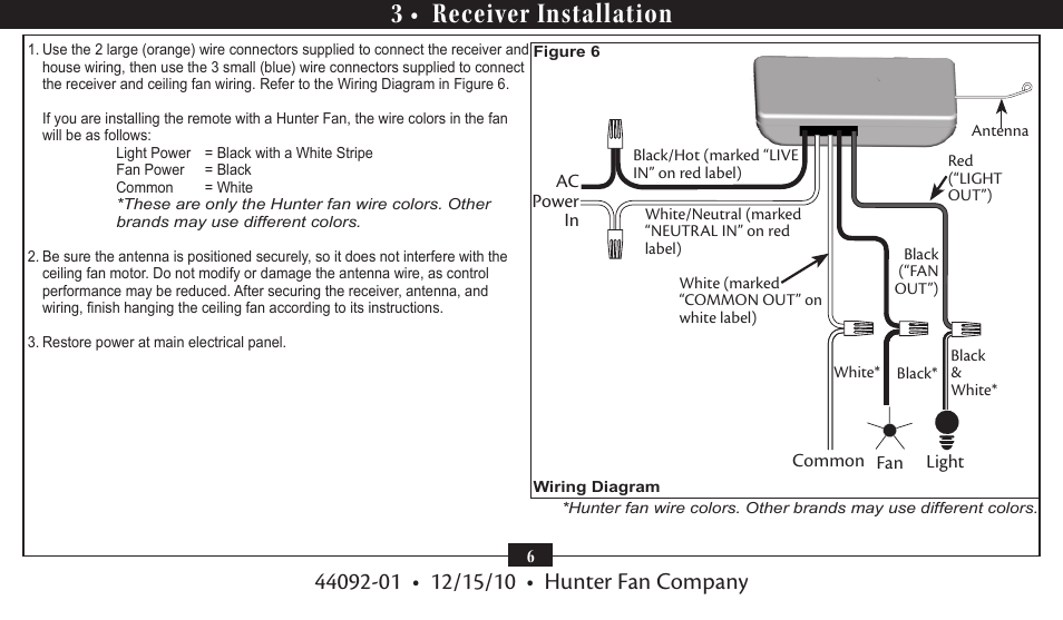 3 • receiver installation | Hunter 27208 Fan/Light Universal ... Typical Ceiling Fan Wiring Diagram on
