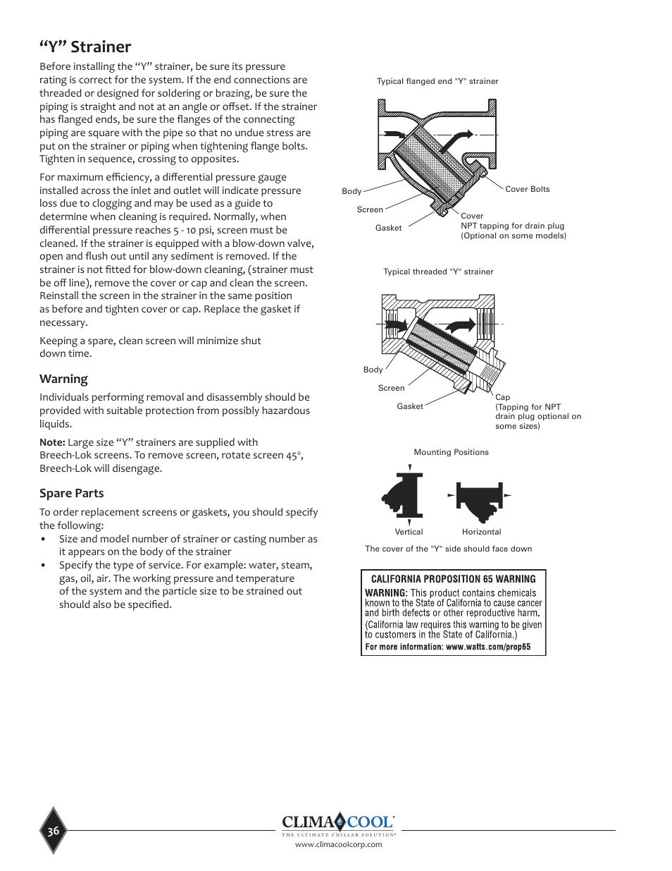 y u201d strainer warning spare parts climacool uca manual user manual rh manualsdir com Owner's Manual Manuals in PDF