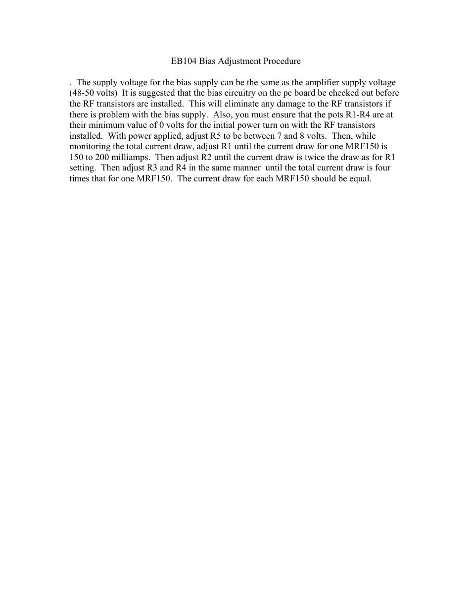 Communication Concepts EB104 Bias Setting User Manual | 1 page
