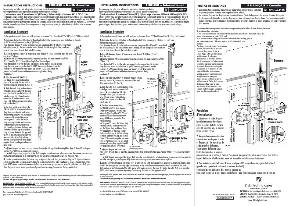 D Amp D Technologies Magnalatch Top Pull User Manual 2 Pages