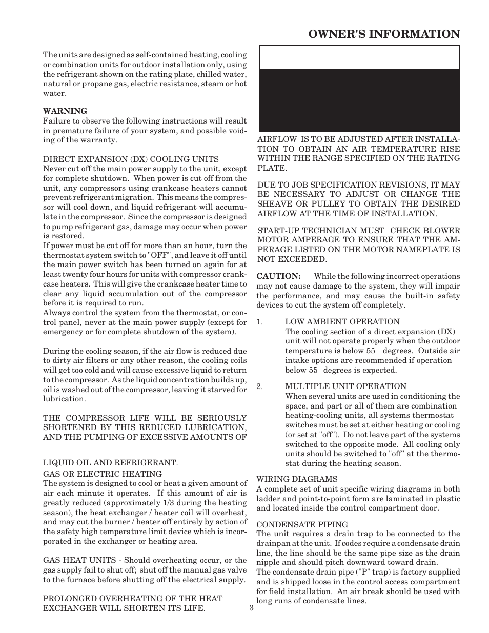 aaon rk 60 page3 warning, owner's information aaon rk 60 user manual page 3 16