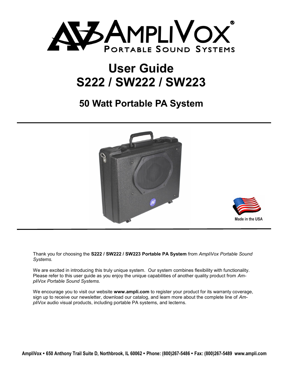 Amplivox User Manual Ford Yt16h Wiring Diagram Array Sw223 7 Pages Also For S223 Sw222 S222 Rh Manualsdir