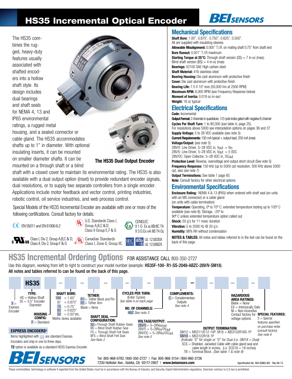 BEI Sensors HS35 Express Encoder User Manual | 2 pages | Also for: HS35  Incremental Hollow Shaft Encoder