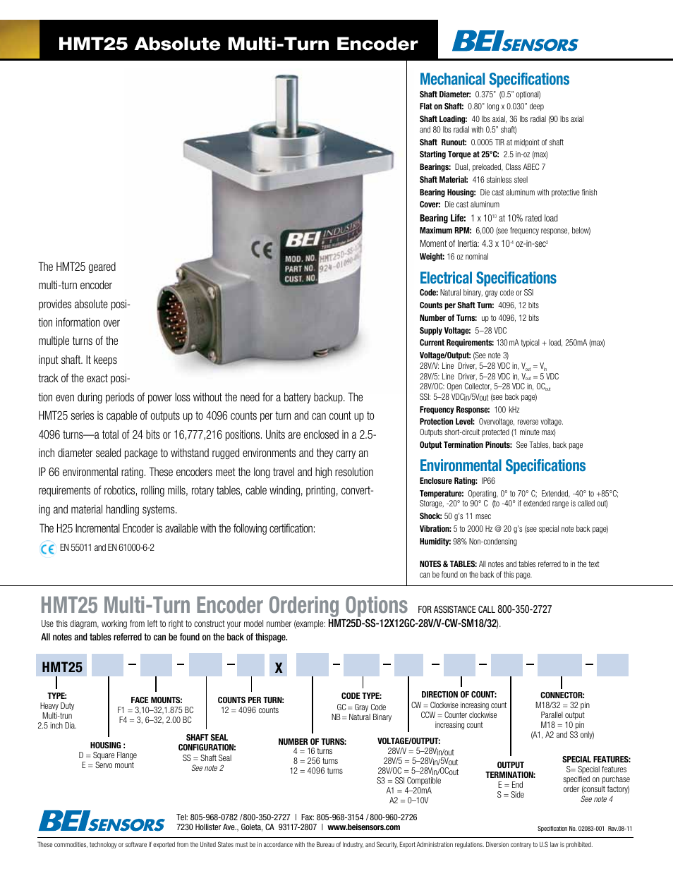 BEI Sensors HMT25 Absolute Multi-Turn Encoder User Manual | 2 pages