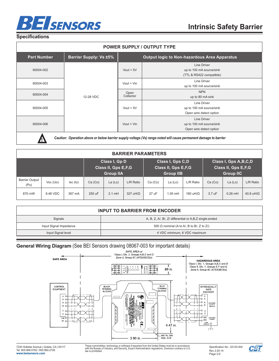 bei sensors intrinsic safety barrier page2 intrinsic safety barrier, specifications, general wiring diagram bei encoder wiring diagram at creativeand.co
