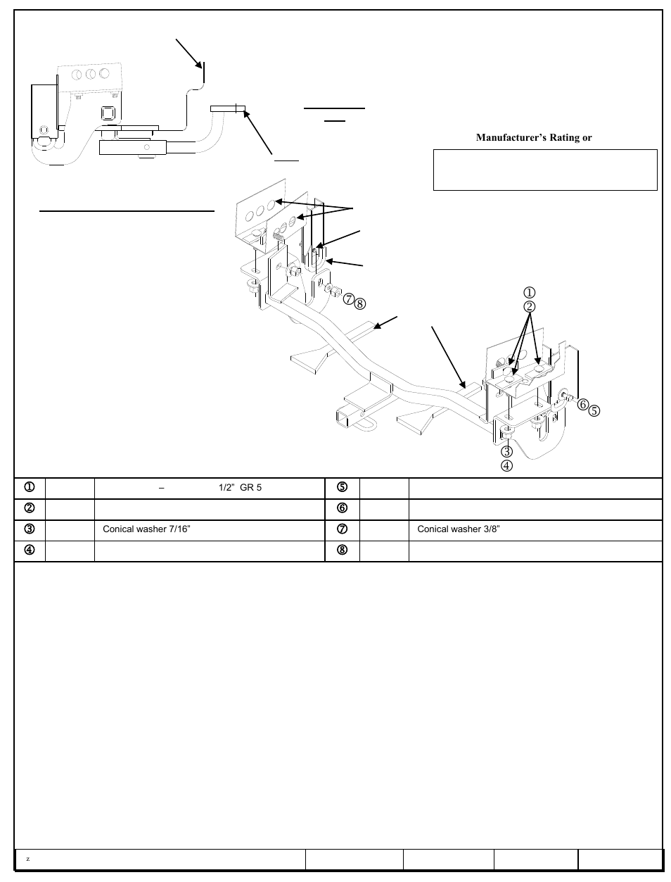 Draw-Tite 24842 SPORTFRAME HITCH User Manual   3 pages