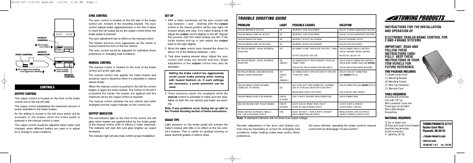 Draw-Tite 5100 ACTIVATOR BRAKE CONTROL User Manual | 6 pages
