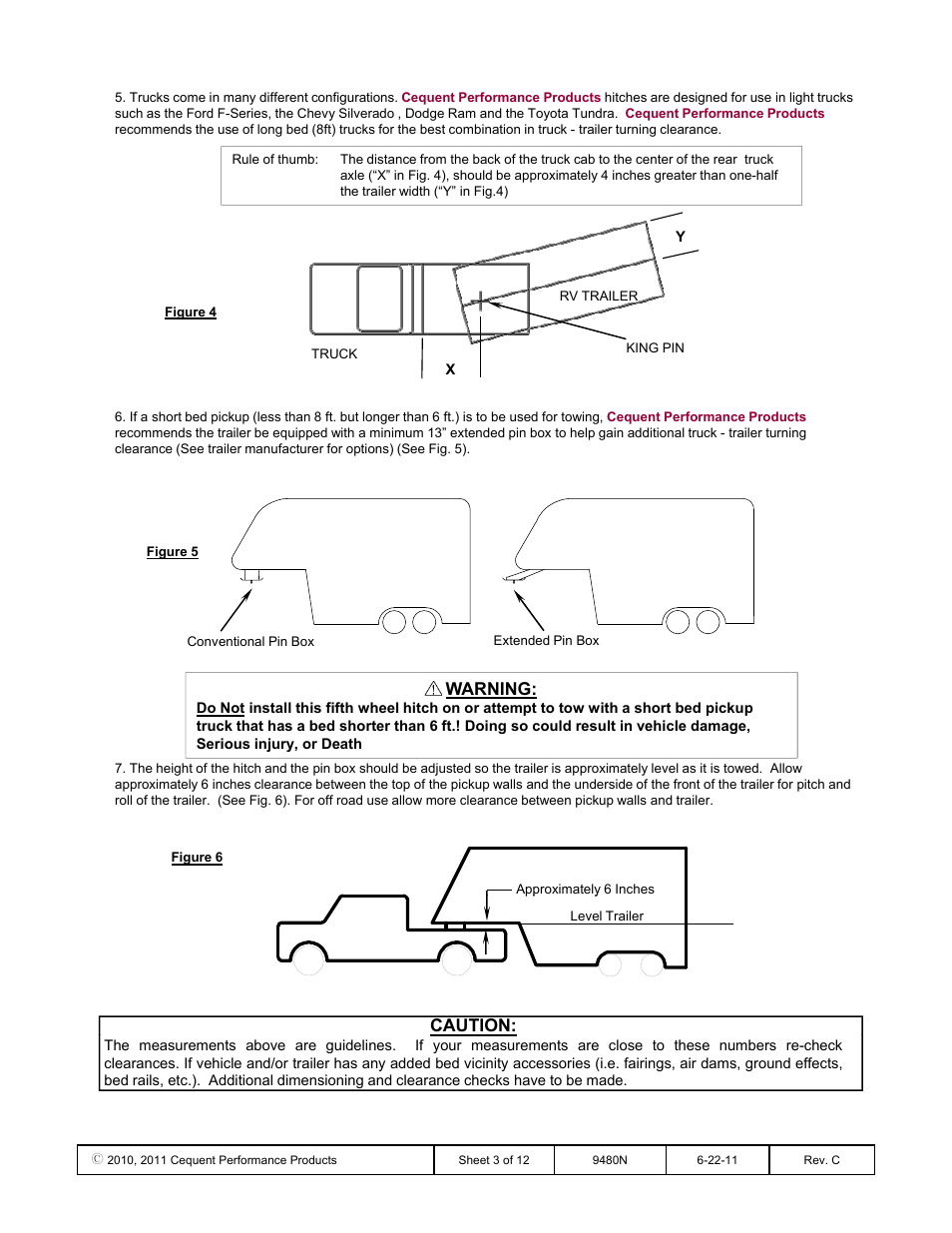 Warning, Caution | Draw-Tite 9480 HIDE-A-GOOSE FIFTH WHEEL ADAPTER User  Manual | Page 3 / 12