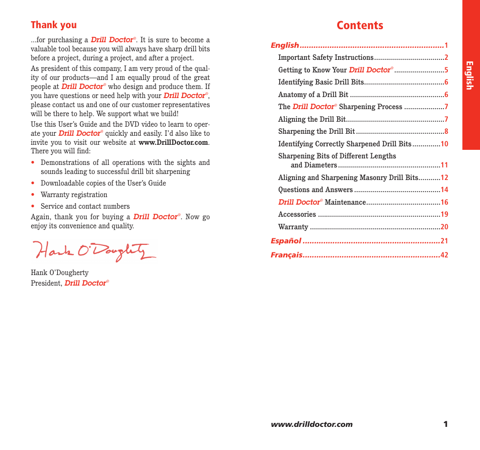 Drill Doctor 350X User Manual | Page 2 / 35