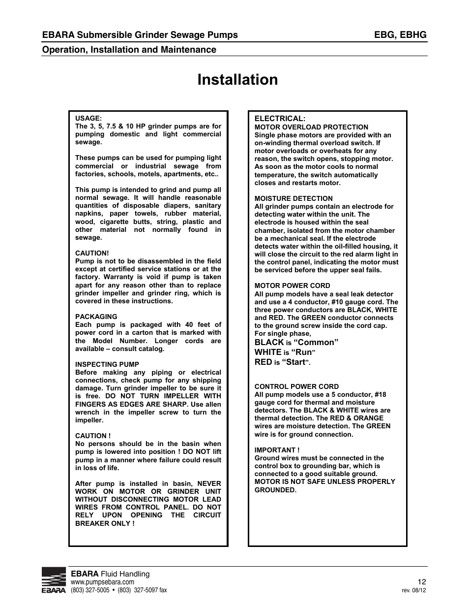 Installation | EBARA EBHG User Manual | Page 12 / 32