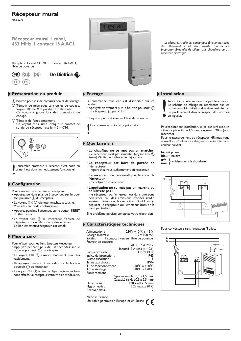 r cepteur mural de dietrich ad248 thermostat user manual page 3 20. Black Bedroom Furniture Sets. Home Design Ideas