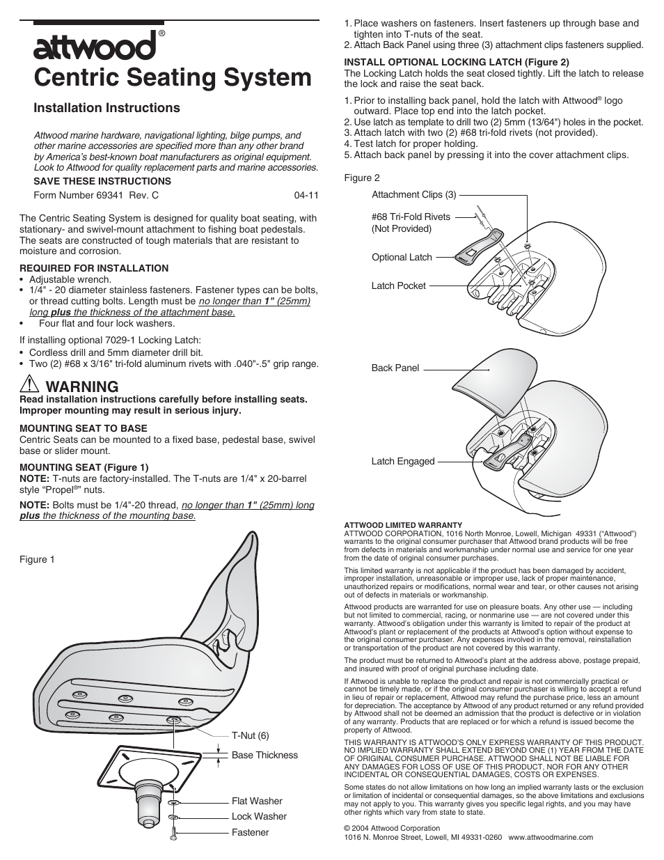 Attwood 69341 User Manual 1 Page Also For Centric 2 Bilge Pump Wiring Diagram Seating System