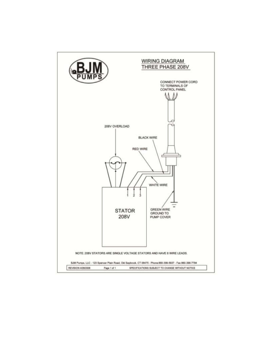 208v Pump Wiring Diagram Simple Single Phase 277v Wires Three Bjm Pumps Jx Series Side