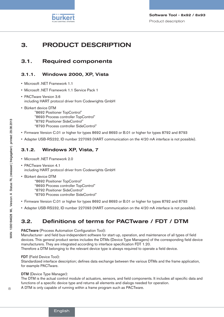 Product description, Required components, Windows 2000, xp