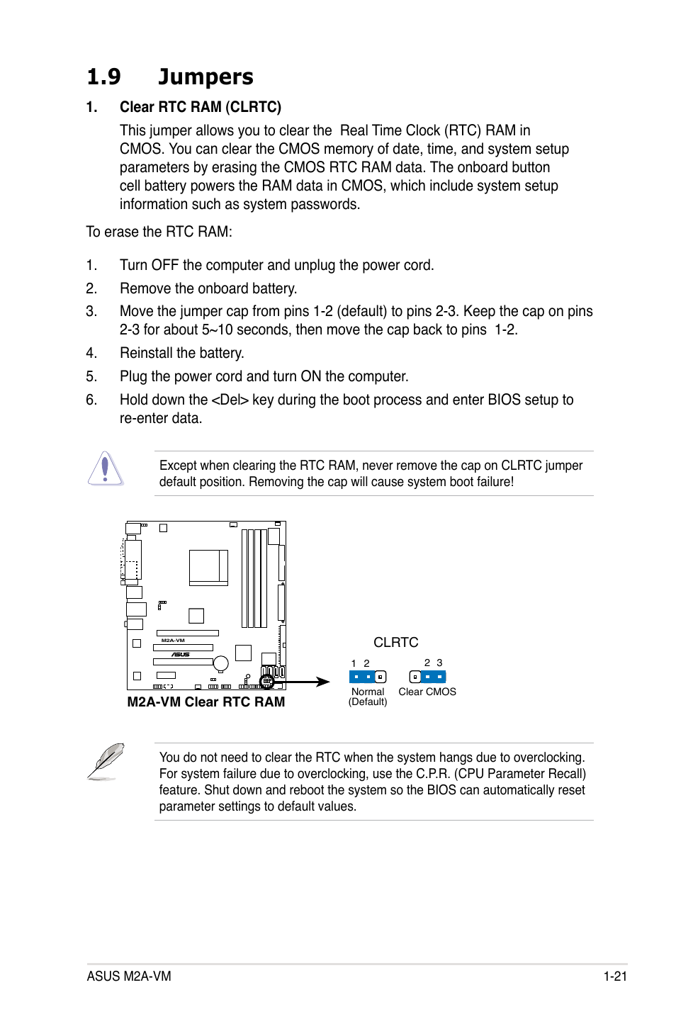 9 jumpers | Asus M2A-VM User Manual | Page 33 / 92