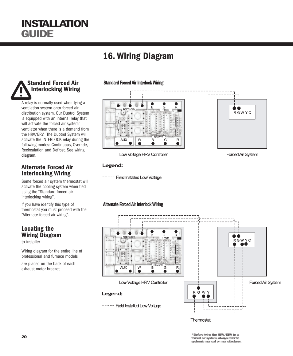Installation guide, Wiring diagram | GeneralAire ERV 3220 User Manual |  Page 20 / 22