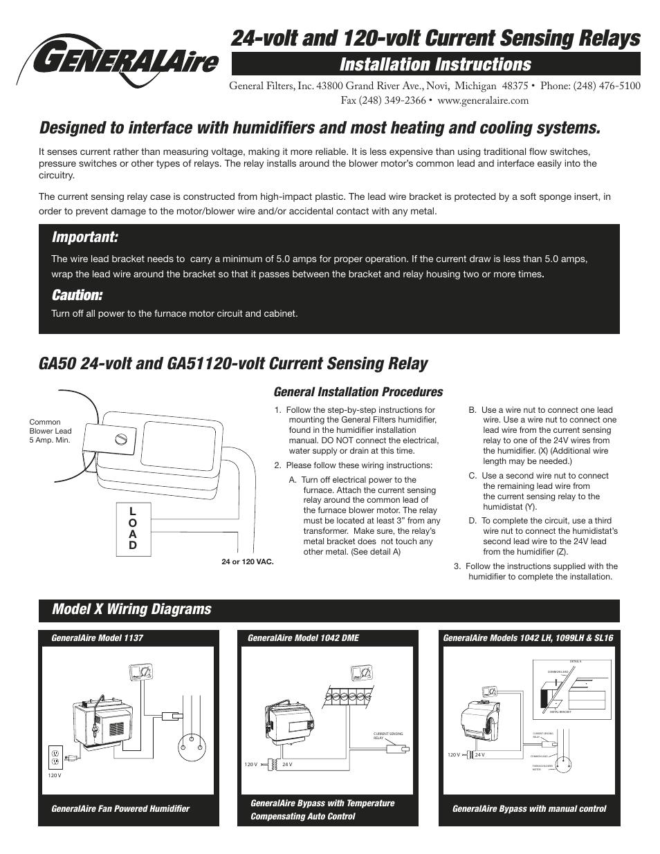 Generalaire Ga51 Current Sensing Relay User Manual