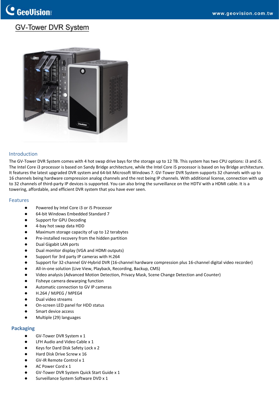 GeoVision Tower DVR System User Manual | 4 pages