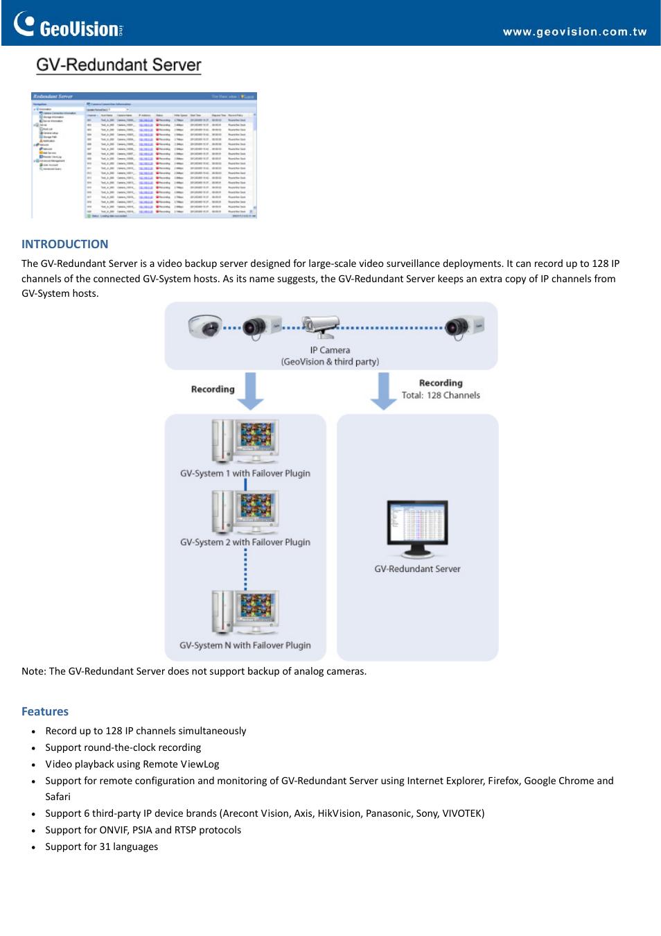 GeoVision Redundant Server User Manual | 4 pages