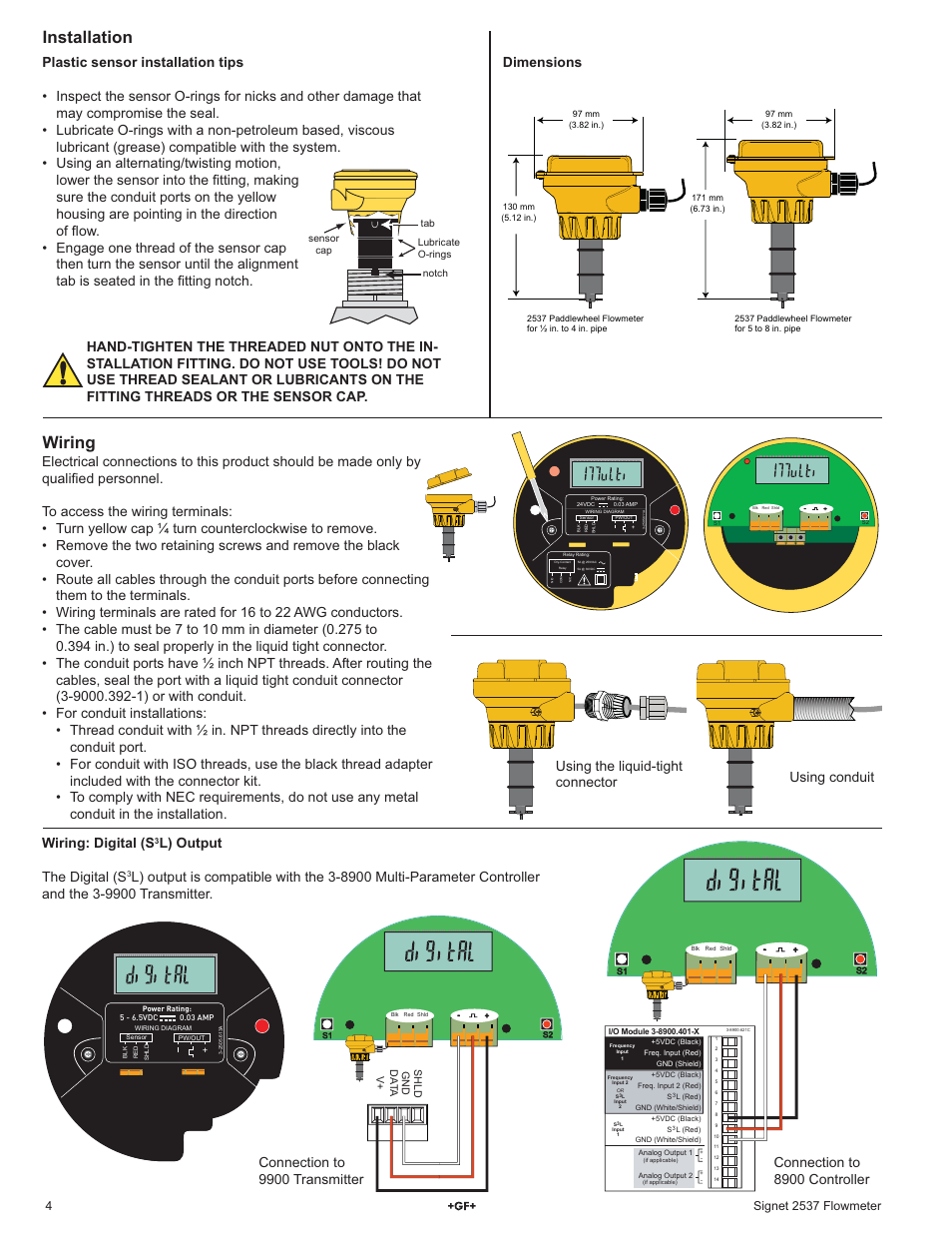 Installation, Wiring, Dimensions | GF Signet 2537 Paddlewheel Flow Sensor  User Manual | Page 4 / 16