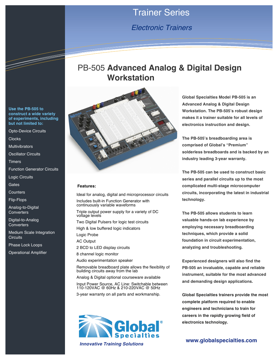 Global Specialties Pb 505 Data Sheet User Manual 2 Pages Analog To Digital Converter Circuit Design