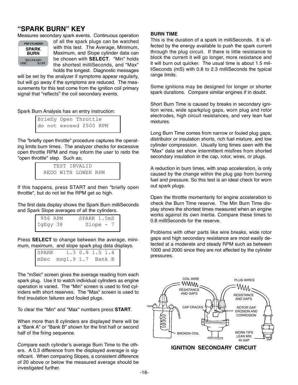 "Spark burn"" key, Start 