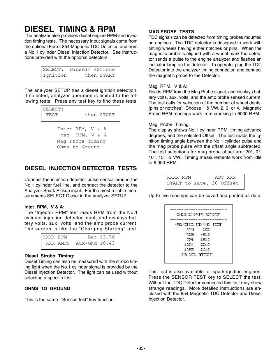 Diesel timing & rpm, Diesel injection detector tests | GxT Ferret 63  DIAGNOSTIC ENGINE ANALYZER